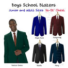 Boys School Blazer Jacket Uniform Black Royal Blue Bottle Green Maroon Navy