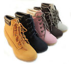 NEW WOMEN FASHION *RENEEZE*  WEDGE COMBAT BOOTIES / CHERRY-3