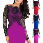 Womens Lace Off Shoulder Pencil Dress Formal Bodycon Evening Cocktail Party Gown
