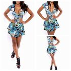 Punk SEXY Deep V Floral Bodycon Bandage Cocktail Evening Party Club Mini Dress