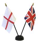 England and United Kingdom Double Friendship Table Flag Set & choice of base