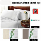 3 Pce Single Sheet Set Quality TENCEL® COTTON White Cream Mocha