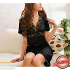 Black Chemise Silky Nightie Nightwear Lingerie Nightdress Sleepwear Dress Cami