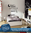SHOOT FOR THE MOON STARS GRAPHIC DECOR QUOTE STICKER WALL ART VARIOUS COLOUR