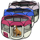 "45"" 2-Door Octagon Pet Dog Playpen Puppy Kennel Small Cat Cage Portable Crate"