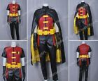 Young Justice Cosplay Robin Costume Artificial Leather Jumpsuit Halloween Outfit