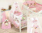 PINK OWL  NURSER BABY COT SET CANOPY WITH HEARTS and BOW GRATIS