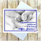PERSONALISED NEW BABY GIRL BOY GRANDPARENTS CONGRATULATIONS CARD BLACK & WHITE