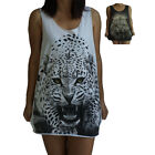 Leopard Lion Tiger Print Vest Tank-Top Singlet (T-Shirt Dress) Sizes S M L XL