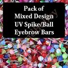 16g 8mm 4mm Mixed UV Eyebrow Bar Rings Body Piercing Jewellery Pack Wholesale