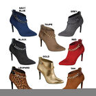 Breckelle's BAYLEE-12 Women's Pointy Toe Gold Chain Stiletto Ankle Booties