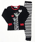 Girls Winter Long Cotton Set 2pc Pyjamas Pjs Black White Giraffe Sz 8 10 12 14