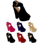 Womens Faux Suede Chunky Platform Peep Toe Buckle Evening Party Heels UK 3-9