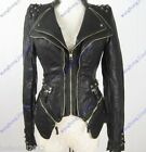 New Womens Punk Spike Studded Shoulder PU Leather Jacket Zipper coat Size S-XL