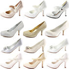 LADIES WEDDING COURT SHOES WOMENS HEELS WHITE IVORY SATIN BRIDAL BRIDESMAID SIZE