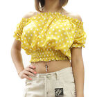 New Ruched Off Shoulder Crewneck Polka Dot Chiffon Blouse Top Size S M L EKK806