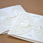 Laser Cutting Cards only Satin Ribbon Wedding Invitations BH2065 with Envelopes