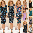 Womens Summer Elegant Tartan Work Office Party Casual Slimming Pencil Dress 307