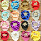 Soft Women Silk Square Scarf Small Plain Neckerchief Head Neck Headband