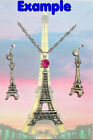 EIFFEL TOWER Silver Pendant Necklace & Earrings Set U Choose Rhinestone Colour