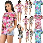 Womens Ladies Cap Sleeve Floral Rose Butterfly HI lo Cut Out Fitted Top T Shirt