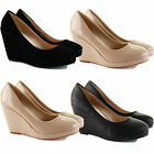 LADIES WOMENS LOW MID HIGH HEELS PLATFORMS WEDGES WORK PUMPS COURT SHOES SIZE