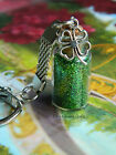 GOOD LUCK 4 FOUR LEAF LEAVED CLOVER KEYRING GLITTER BOTTLE GREEN
