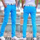 Stylish Mens slim fit  trousers pu leather fight skin casual jean pencil pants