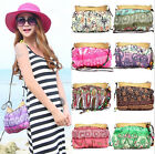 Boho Bohemia Exotic Floral Straw Bag Beach Messenger Weave Strap Cloth Handbag