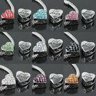 Wholesale Crystal Rhinestone Heart Carved Angel Beads Fit Charms Bracelet