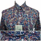 Relco PLATINUM COLLECTION Blue Paisley Shirt Long Sleeve NEW Mod Vintage Retro