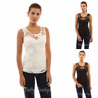 PattyBoutik Scoop Neck Sweetheart Inset Floral Lace Sleeveless Top