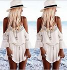 Women V Neck Chiffon Off Shoulder Top T Shirt Jumpsuit Dress 8 10 12 14 16 18 20