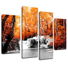 MSC396 Autumn Forest Waterfall Canvas Wall Art Multi Panel Split Picture Print