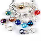 20PC 6x8mm Faceted Multicolor Glass Dangle Charms Beads Fits European Bracelets
