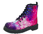 TUK T2205 Galaxy Nebula Pink Purple Combat Boots Alternative Goth Punk