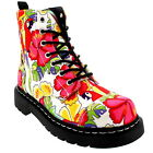 Womens T.U.K Anarchic 7 Eye Boot Parrot Tropical Biker Ankle High Boot US 5-11