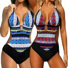 Retro Graphic Print Monokini Women Vintage Floral One-piece Beachwear Swimwear
