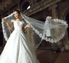 Girls Womens Beautiful Cathedral Length Lace Edge Wedding Bridal Veil 2colors Z