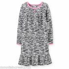 NEW Carters Girls ~ ZEBRA Print Fleece Ruffle Nightgown Sleep PJ's ~ Size 2-3