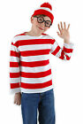 Where's WALDO Shirt Hat Glasses Costume Kit YOUTH Child S M L XL