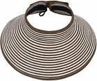 Lady Large Brim Adjustable Straw Hat Roll Up Travel Sun Visors Hat Caps with Bow