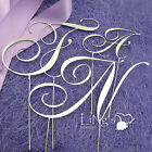 11cm Monogram Wedding Cake Topper RNS Letters Silver Black Gold Metal 3 Colour
