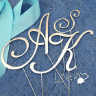 7cm Monogram Wedding Cake Topper AKS Letters Silver Black Gold Metal 3 Colours