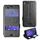 For Sony Xperia E3 Ultra Slim Flip Wallet Case Stand Cover + Screen Protector