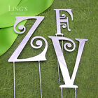 7cm Monogram Wedding Cake Topper SCJ Letters Silver Black Gold Metal 3 Colours
