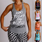 New Women WHO RULES T Back y back Gym RACER BACK Singlet yoga cotton Wear