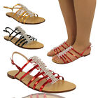 LADIES STRAPPY SANDALS UK 3 4 5 6 7 8 WOMENS GLADIATOR DIAMANTE PARTY SHOES SIZE
