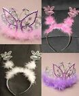 Girls Butterfly TIARA Deeley Silver Pink Sparkly Fairy Bopper Birthday Party