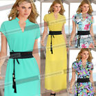 Women Elegant Sexy V Neck Floral Chiffon Belted Party Casual Maxi Long Dress 811